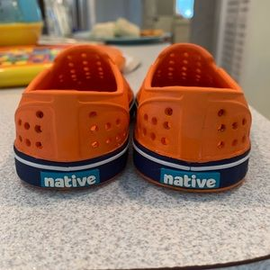 Orange and navy strip Native shoes